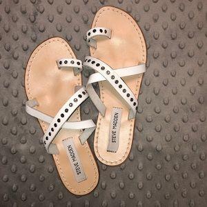 White Studded Slip-on Sandals